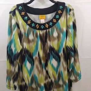 Ruby Rd Blouse Size L Black Greens Beaded Neck